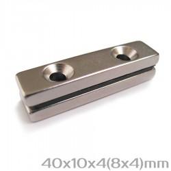 Неодимовый магнит с отверстиями 40x10x4(8x4) мм N38 - 2 шт.