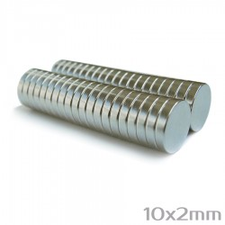Неодимовый магнит 10x2 мм N38 - 40 шт.