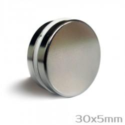 Неодимовый магнит 30x5мм N38 - 2 шт.