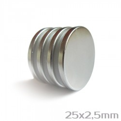 Neodīma magnēts 25x2,5mm  N38 - 4 gb.