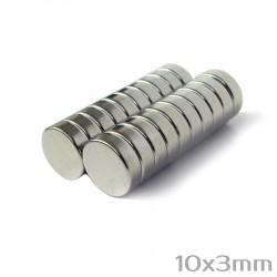 Neodīma magnēts 10x3 mm  N38 - 20 gb.
