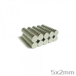 Неодимовый магнит 5x2 мм N38 - 100 шт.