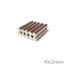 Неодимовый магнит 4x2 мм N38 - 100 шт.