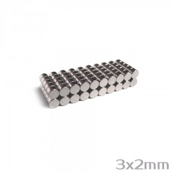 Неодимовый магнит 3x2 мм N38 - 100 шт.
