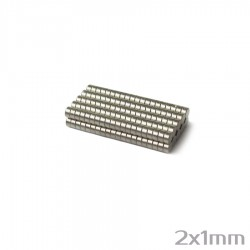 Неодимовый магнит 2x1 мм N38 - 200 шт.