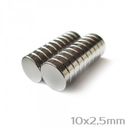 Неодимовый магнит 10x2,5 мм N38 - 20 шт.