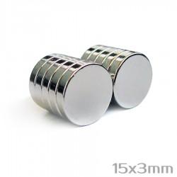 Неодимовый магнит 15x3 мм N38 - 10 шт.