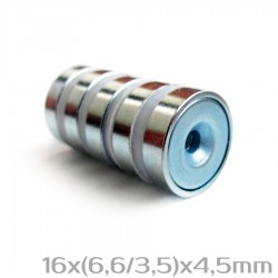 Неодимовый магнит с отверстием 16x(6,6/3,5)x4,5 мм N38 - 5 шт.