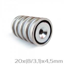 Neodīma magnēts ar caurumu 20x(8/3,1)x4,5 mm N38 - 5 gb.