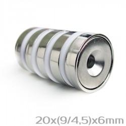 Neodīma magnēts ar caurumu 20x(9/4,5)x6 mm N38 - 5 gb.
