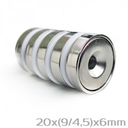 Неодимовый магнит с отверстием 20x(9/4,5)x6 мм N38 - 5 шт.