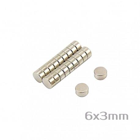 Неодимовый магнит 6x3 мм N50 - 20 шт.
