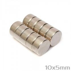 Неодимовый магнит 10x5 мм N35 - 10 шт.