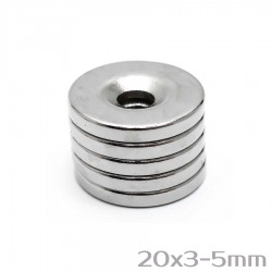 Neodīma magnēts ar caurumu 20x3-5 mm N38 - 5 gb.