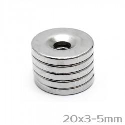 Неодимовый магнит с отверстием 20x3-5 мм N38 - 5 шт.