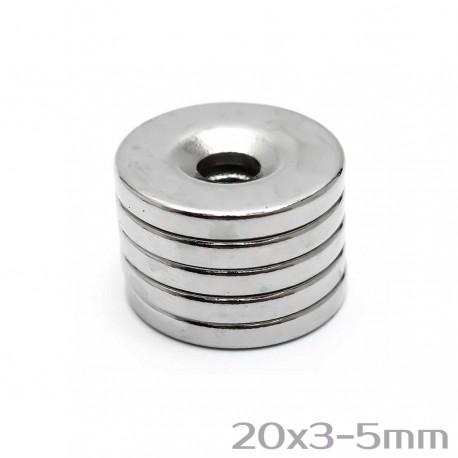 Neodīma magnēts ar caurumu 20x3-5 mm N35 - 5 gb.