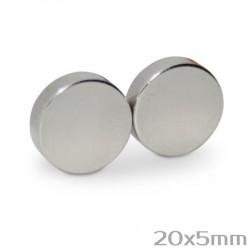 Neodīma magnēts 20x5mm N50 - 2 gb.