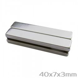 Неодимовый магнит 40x7x3 мм N38 - 4 шт.