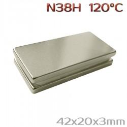 Неодимовый магнит 42x20x3 мм N38H - 2 шт.