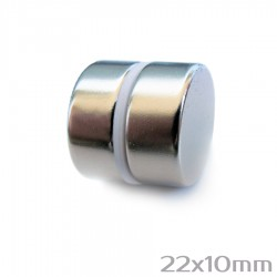 Neodīma magnēts 22x10 mm N38 - 2 gb.