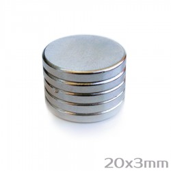 Неодимовый магнит 20x3 мм N35 - 5 шт.