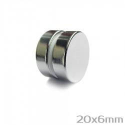 Неодимовый магнит 20x6 мм N38 - 2 шт.