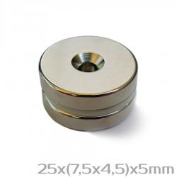 Неодимовый магнит с отверстием 25x(7,5x4,5)x5 мм N38 - 2 шт.