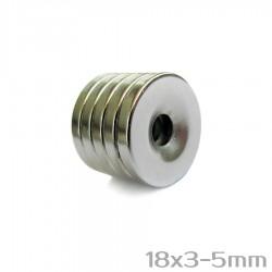 Неодимовый магнит с отверстием 18x3-5 мм N35 - 5 шт.
