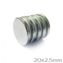 Неодимовый магнит 20x2,5 мм N38 - 5 шт.