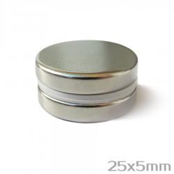 Неодимовый магнит 25x5мм N38 - 2 шт.